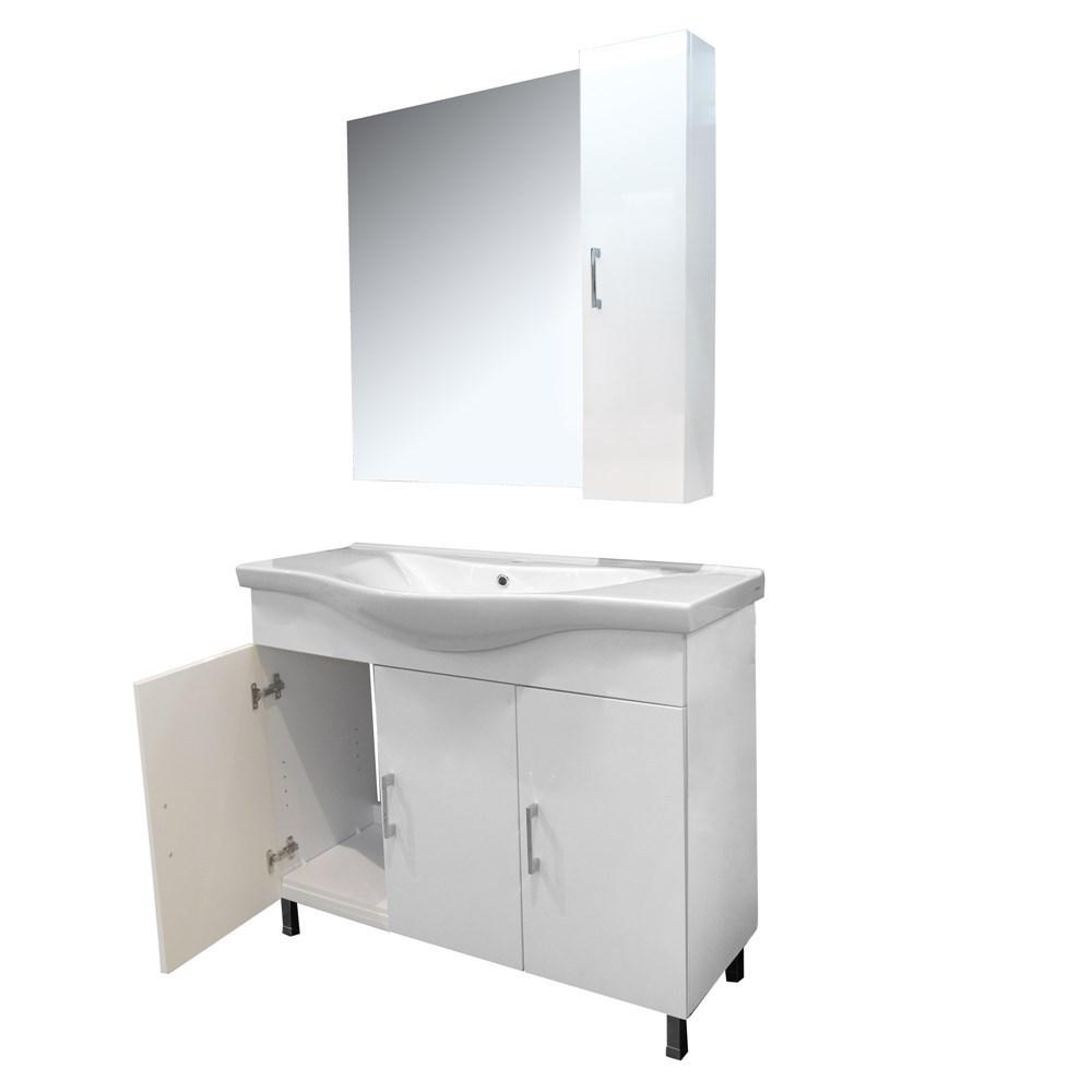 Mobilje tualeti ALBA 100 DROP melamine e bardhe 224354 3