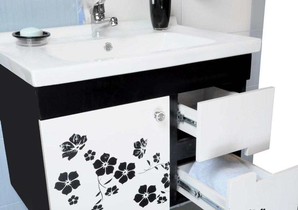 Mobilje tualeti Flora PVC e bardhe dhe zeze 23605 1