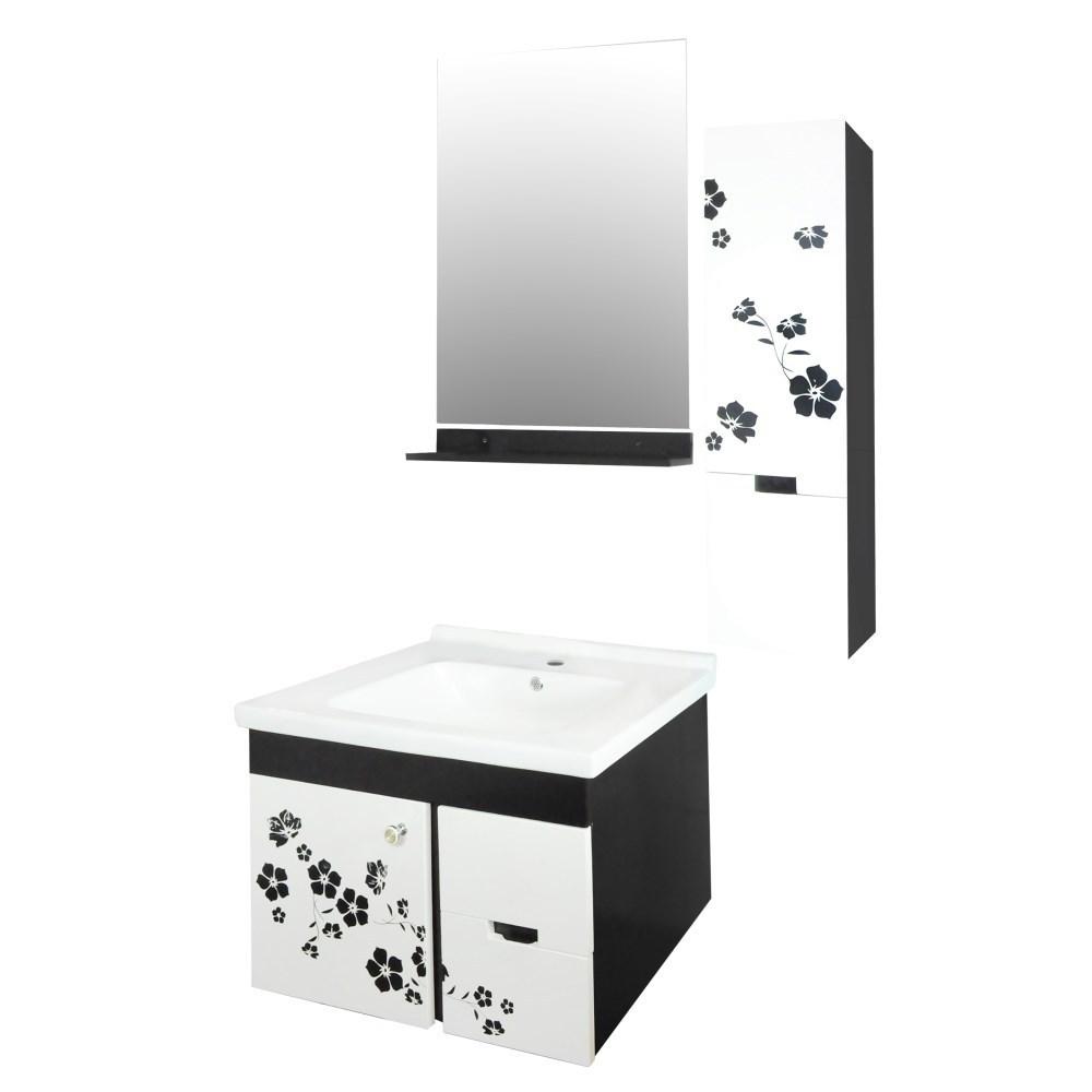 Mobilje tualeti Flora PVC e bardhe dhe zeze 23605 2