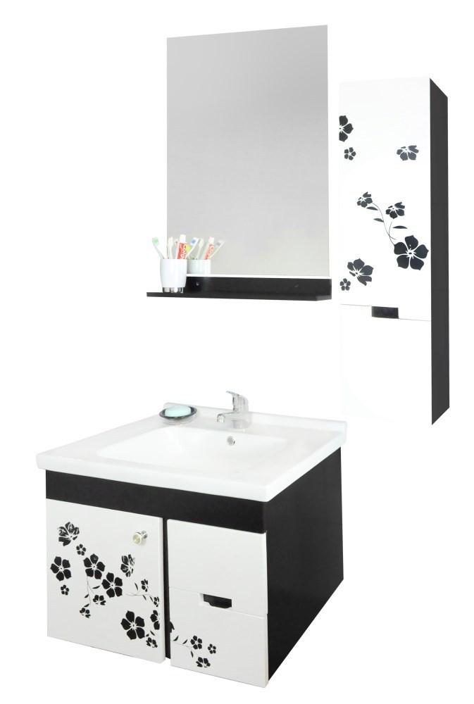 Mobilje tualeti Flora PVC e bardhe dhe zeze 23605 3