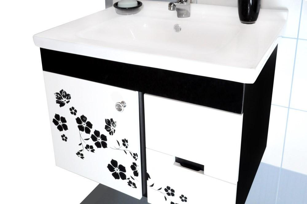 Mobilje tualeti Flora PVC e bardhe dhe zeze 23605 4